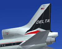 Tail decal of Delta Airlines Lockheed L1011.