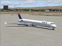 Screenshot of Delta Airlines McDonnell Douglas MD-90 on the ground.