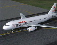Screenshot of Dragon Air Airbus A320-200 on runway.