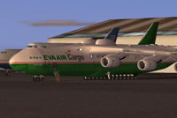 Screenshot of EVA Air Cargo Antonov AN-225 on the ground.