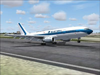Screenshot of Eastern Airlines Airbus A300B4-200 taking off from runway.