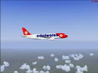 Screenshot of Edelweiss Airbus A320-214 in flight.