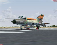 Screenshot of Egypt Air Force MiG-21MF on the ground.