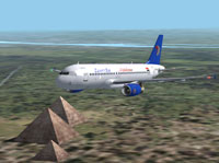 Screenshot of EgyptAir Airbus A320-200 flying over pyramids.