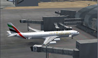 Screenshot of Emirates Airbus A340-300 at the gate.