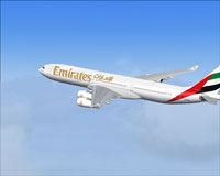 Screenshot of Emirates Airlines Airbus A340-300 in flight.