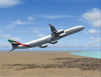 Screenshot of Emirates Airlines Airbus A340-600 in flight.