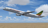 Screenshot of Ethiopian Airlines Boeing 757-260 in flight.