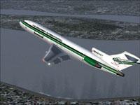 Screenshot of Evergreen Boeing 727-200 in flight.