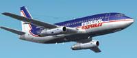 Screenshot of FedEx Boeing 737-200 in flight.
