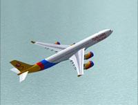 Screenshot of FlyAir London Airbus A340-500 in flight.