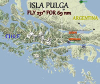 Screenshot of route to Isla Pulga.