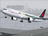 Screenshot of Free Spirit Boeing 767-300ER taking off.