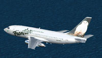 Screenshot of Frontier Airlines Boeing 737-200 in flight.