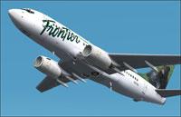 Screenshot of Frontier Airlines Boeing 737-700 in flight.