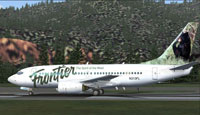 Screenshot of Frontier Bear Boeing 737-700 on the ground.