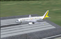 Screenshot of Germanwings Airbus A320-200 on runway.