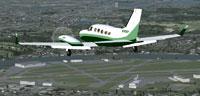 Screenshot of Green/White Cessna 414 Chancellor in flight.