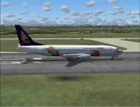 Screenshot of Hainan Airlines Boeing 737-800 on runway.