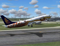 Screenshot of Hainan Airlines Boeing 737-800 taking off from runway.