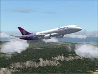 Screenshot of Hawaiian Airlines Boeing 7E7-800 in flight.