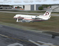 Screenshot of Horizon Air CRJ-200 landing on runway.