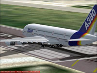 Screenshot of House Colors Airbus A380 on runway.