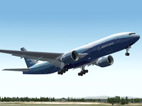Screenshot of House Colors Boeing 777-200ER taking off.