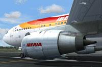 Screenshot of Iberia Airbus A300 on runway.