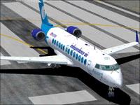 Screenshot of Independence Air CRJ-200 on runway.