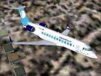 Screenshot of Independence Air CRJ-200ER in flight.