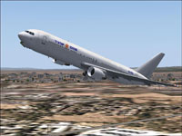 Screenshot of Israir Boeing 767-300ER in flight.