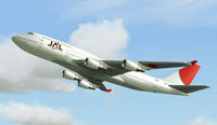 Screenshot of JAL Boeing 747-400 in flight.