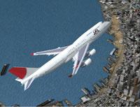 Screenshot of JAL Boeing 747-446 in flight.