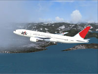 Screenshot of JAL Boeing 777-246 in flight.