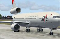 Screenshot of JAL McDonnell Douglas MD-11 on runway.