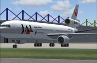 Screenshot of JAL McDonnell Douglas MD-11 on the ground.