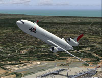 Screenshot of Japan Airline MD-11 in flight.