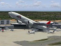 Screenshot of Japan Airlines Boeing 777-200 after take-off.