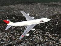 Screenshot of Japan Asia Airways Boeing 747-246 in flight.