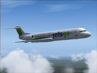 Screenshot of Jetsgo Fokker 100 in flight.