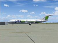 Screenshot of Jetsgo Fokker F100 on the ground.