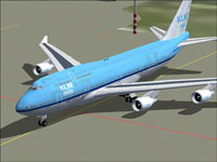 Screenshot of KLM Asia Boeing 747-400 on the ground.