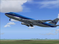 Screenshot of KLM Boeing 747-200 taking off.