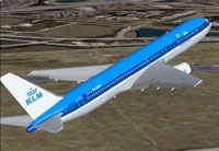 Screenshot of KLM Boeing 767-300ER in flight.
