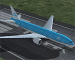 Screenshot of KLM Boeing 777-206ER on runway.