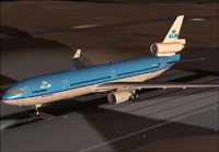 Screenshot of KLM McDonnell Douglas MD-11 on runway.