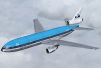 Screenshot of KLM Royal Dutch Airlines DC-10-30 in flight.