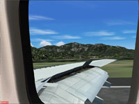 View over the wing of Kittyhawk 737.
