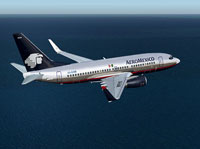 Screenshot of Aeromexico Boeing 737-700 in flight.